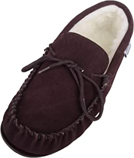 SNUGRUGS Men's Lambswool Moccasin with Rubber Sole Low-Top Slippers