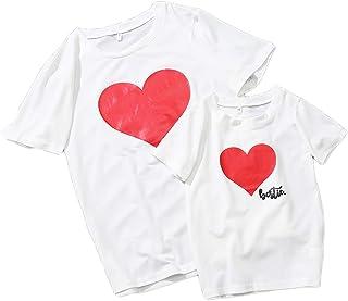 Usmley Familia Madre e Hija Hermoso Ropa a Juego Corazón Cuello Redondo Camiseta Estampada Tops Blusa Verano