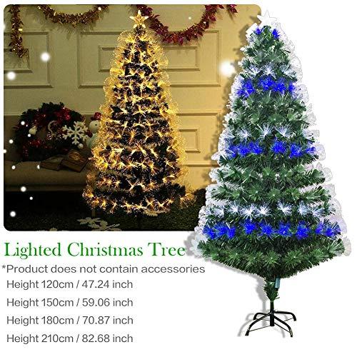 Sapin de Noël, 1.2M Arbre à fibres optiques de Christmas Tree artificiel vert de - Modes Flash Arbre de décoration de Noël avec lumières et support multicolores à LED(Expédition allemande) (120CM)