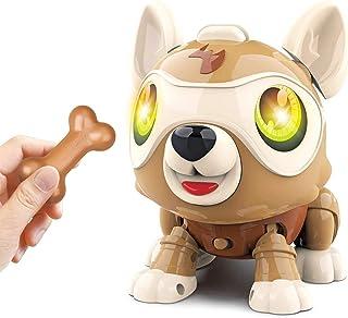 HOWADE DIY Robot Dog, Electronics Pet Dog with Bone, Interactive Smart Puppy Responds to Bark Run Eat Sleep Snore Yawn wit...