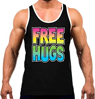 Men's Neon Rainbow Free Hugs Tee White Trim Black Tank Top Black