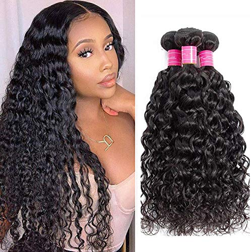 Brazilian Hair Bundles 8A Water Wave 3 Bundles Wet and Wavy Human Hair Bundles 8A Unprocessed Virgin Brazilian Hair Weave Human Hair Remy Human Hair Extensions Curly Hair Products Natural Black Color