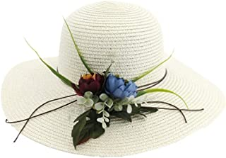 SHENTIANWEI Women's Summer Straw Woven Visor Beach Hat Multi-artificial Flower Cube Large Wide Edge 6 Color