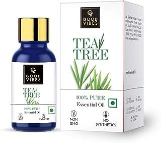 Good Vibes 100% Pure Tea Tree Essential Oil, 10 ml Controls Excess Sebum, Helps Reduce Dark Spots & Acne Scars, Stimulates...