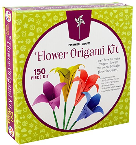 Kids Origami Paper Folding Kit: Girls Multi Color Foldable Paper Sheets For Flowers With Decorative Charms & Accessories - Craft Supplies Set With Instruction Book - Beginner, Intermediate & Advanced