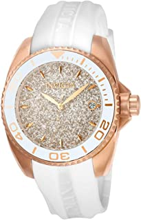Invicta Women's Angel Stainless Steel Quartz Watch with Silicone Strap, White, 20 (Model: 22704)