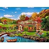 Puzle de 1000 piezas, puzzle para adultos, imposible rompecabezas, coloridos juegos de habilidad para toda la familia, puzzle para adultos a partir de 14 años de casa de vacaciones romántica.