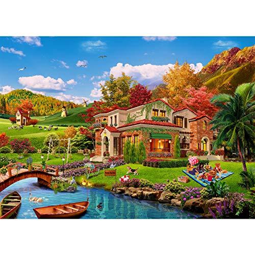Puzzle 1000 Teile,Puzzle für Erwachsene,Impossible Puzzle, farbenfrohes Legespiel,Geschicklichkeitsspiel für die ganze Familie,Erwachsenenpuzzle ab 14 Jahren-Romantisches Ferienhäuser.