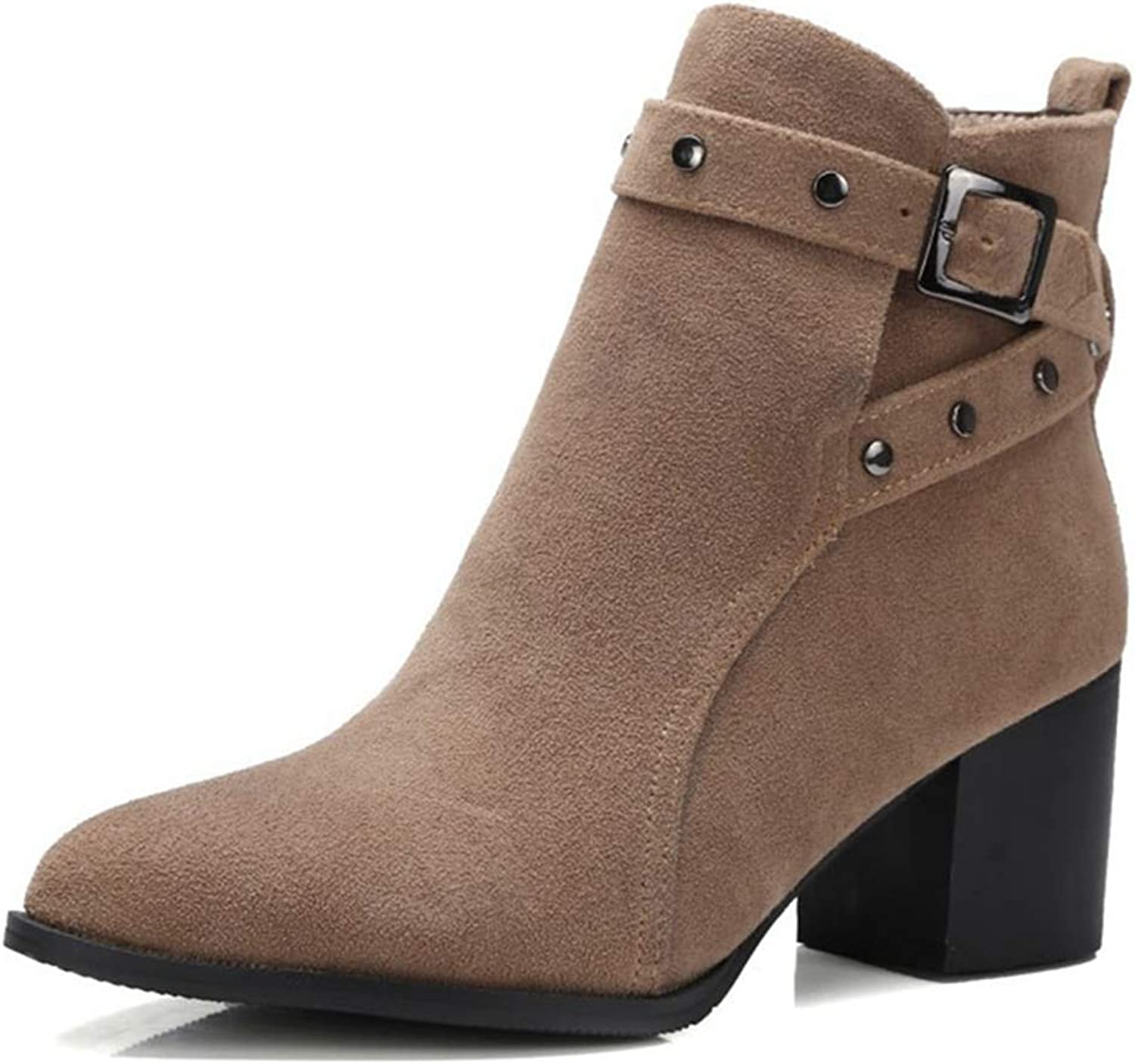 GIY Women's Pointed Toe Vegan Ankle Boots Buckle Strap Chunky Heel Slip On Booties Winter Warm Short Boot