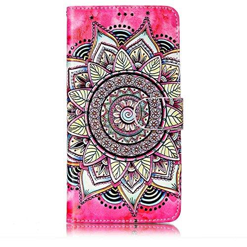 Karomenic - Funda de piel sintética para Samsung Galaxy J7 2016, diseño de estampado de flores, funda para teléfono móvil de silicona TPU, funda con tapa, Mandala
