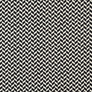 Designer Fabrics K0004G 54 in. Wide Midnight And Off White44; Herringbone Slanted Check Designer Quality Upholstery Fabric