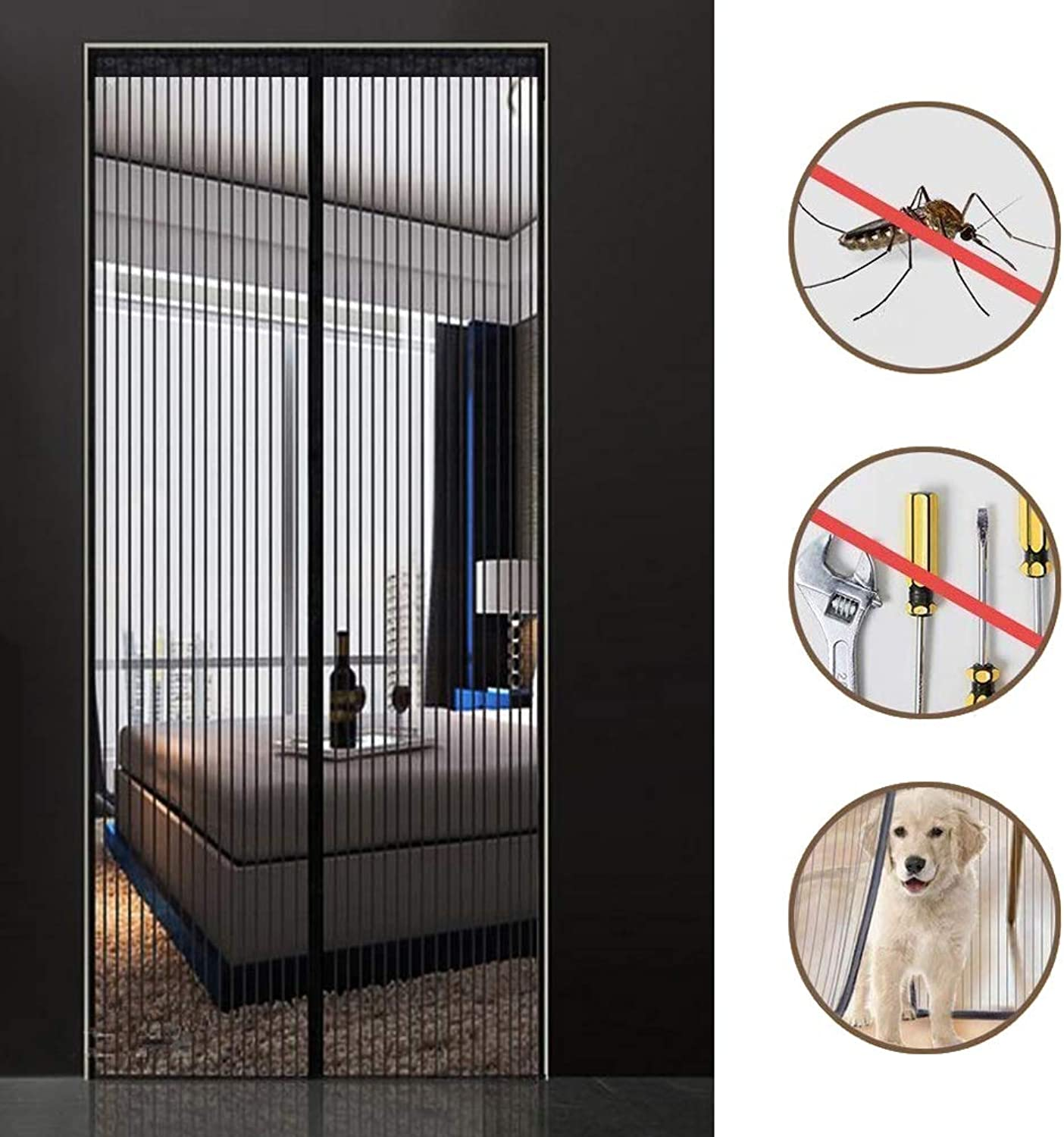 Magnetic Screen Door, Screen Easy to Install Without Drilling, Heavy Duty Screen Bug Mesh Curtain Fly Screens, Super Quiet - 200(W) x 220(H) cm