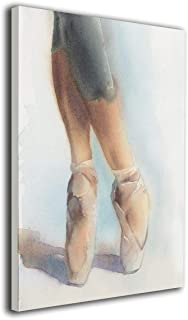 Ballet Art, Ballerina Legs in Pointe Shoes Painted Canvas Picture Prints for Canvas Paintings for Living Room Bedroom Decorative Wall