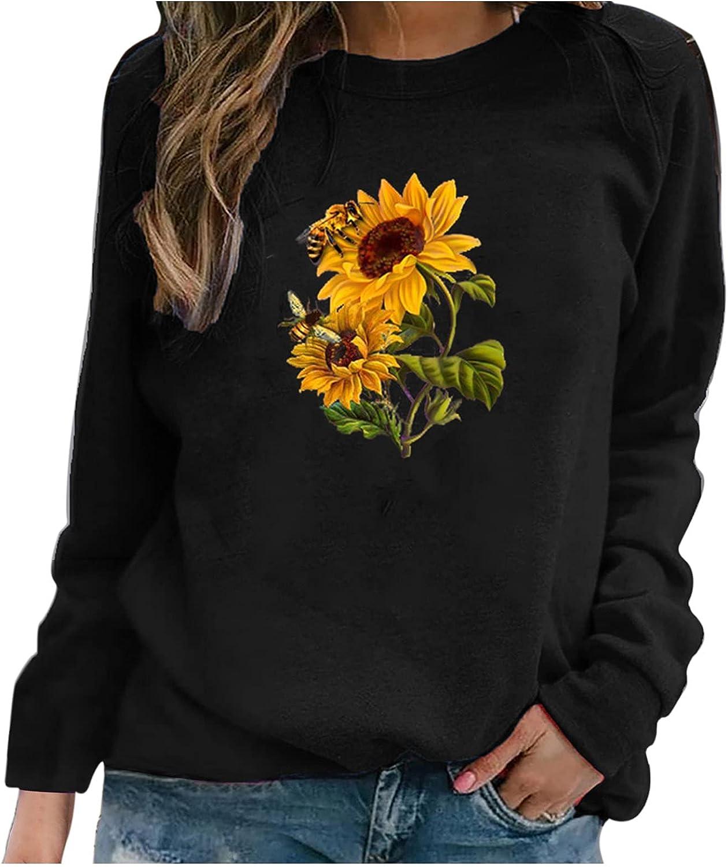 iQKA Women Long Sleeve Crew Neck Sweatshirt Sunflower Letter Print Graphic Shirt Lightweight Pullover Tops Fall Blouse