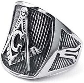 Masonic Rings for Sale - Freemason Ring Steel Color - Pinstripe Design with Square and Compass Mason Symbol - Freemason Jewelry