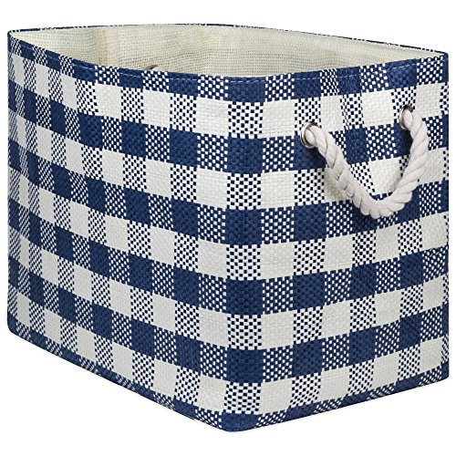 """DII Oversize Woven Paper Storage Basket or Bin, Collapsible & Convenient Home Organization Solution for Office, Bedroom, Closet, Toys, & Laundry(Medium - 15x10x12""""), Navy Checkered"""