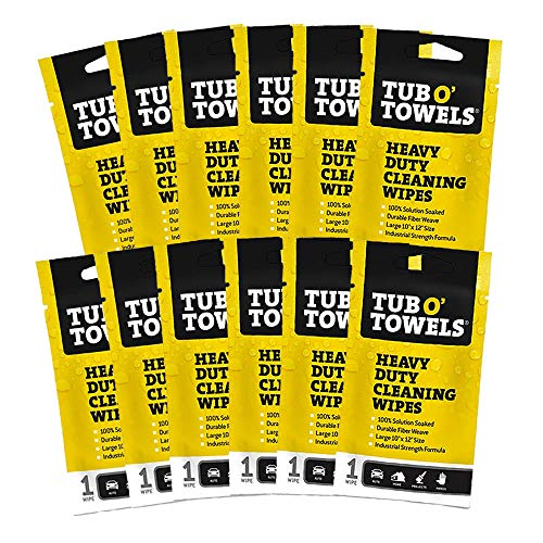 Tub O Towels Heavy Duty 10' x 12' Multi-Surface Cleaning Wipes, On-The-Go 12-Pack (TW01-12)