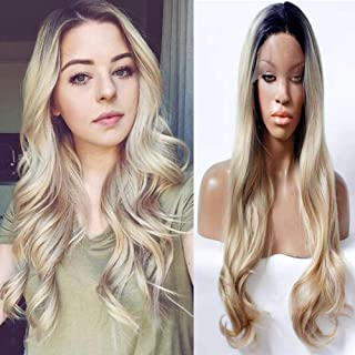 Ombre Blonde Lace Front Wig with Dark Roots Long Wave Glueless Synthetic Wigs for Black Women Heat Resistant Middle Parting