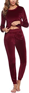 Women's Velour Sweatsuit Set 2 Piece Outfits Long Sleeve Pullover Sport Suits Tracksuits