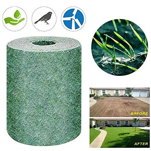Grass Seed Mat Roll, 10FT Biodegradable Grass Grow Mat Lawn Planting Mat Fertilizer Grass Seed Germination Blanket, Just Roll Water & Grow Not Fake or Artificial Grass