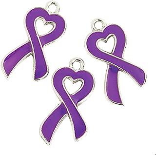 Purple Ribbon Awareness Cancer Heart Charms (36)