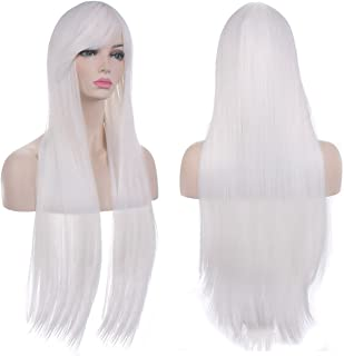 """AKStore Wigs 32"""" 80cm Long Straight Anime Fashion Women's Cosplay Wig Party Wig With Free Wig Cap(White)"""