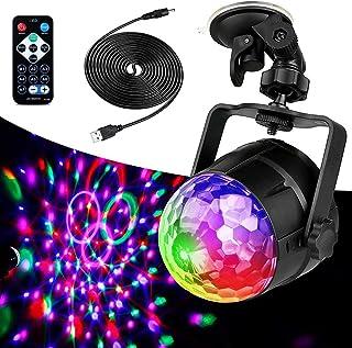 ZEYUN Lámpara LED de discoteca de 3 W, con luz de luna, cable USB de 3,8 m, con mando a distancia, para fiestas familiares...