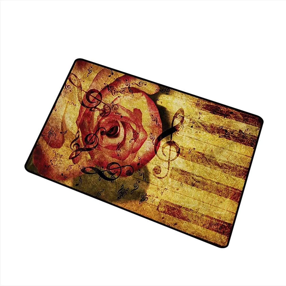 Washable Doormat Rose Vintage Background with Piano Keyboard and Majestic Rose Love Valentines Art Theme W31 xL47 Non-Toxic Carpet