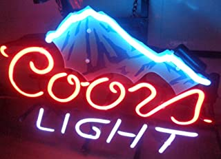 "XPGOODUSA beer neon light sign- New Coors Light Beer Mountain 17""×13"" bar signs for Home Bedroom Garage Neon Decor Wall Window Neon lights, Striking Neon Lights for Bar Pub Game Room"
