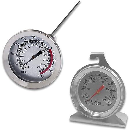 Lot de 2 thermomètres de surveillance de four en acier inoxydable et thermomètre à longue tige, cadran sourceton avec crochet et base de panneau et thermomètre de cuisson à la viande 30,5 cm