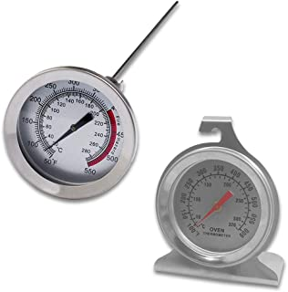 Set of 2 Stainless Steel Oven Monitoring Thermometer & Long Stem Fry Thermometer, SourceTonDial Oven Thermometer with Hoo...