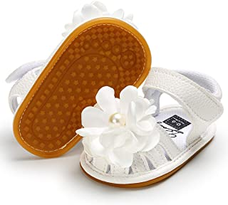 Infant Baby Girls Sandals, Premium Soft Rubber Sole Anti-Slip Summer Toddler Flats First Walkers Shoes