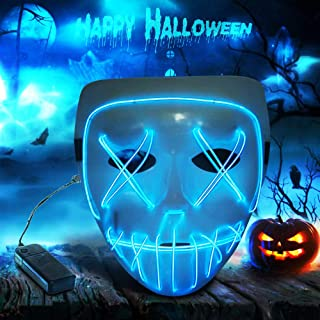 Ankuka Frightening Wire Halloween Glowing Mask, Scary Cosplay LED Light up Masks for Gifts, Costume Parties, Dance, Carnival or Club (Blue)
