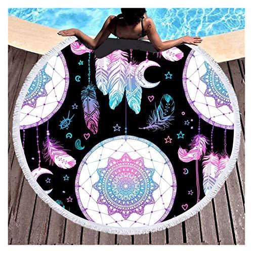 Hermosamente Colorido sueño colector pluma playa natación toalla de natación moda adulto niños deportes niños y niñas regalo 150 cm toallas de playa redonda Alfombra al aire libre, manta de picnic,