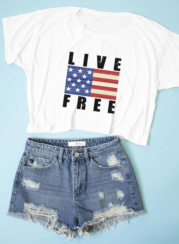 Asvivid Womens Basic Letter Printed Distressed Tee Summer Tops Crewneck Short Sleeve Shirts Blouses