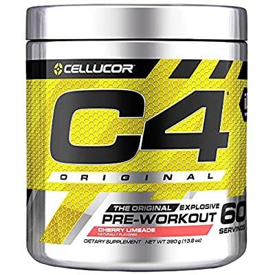 Cellucor C4 Original Pre Workout Powder Energy Drink Supplement For Men & Women with Creatine, Caffeine, Nitric Oxide Booster, Citrulline & Beta Alanine, Cherry Limeade, 60 Servings