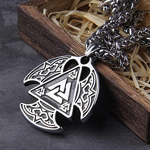 GJPSXTY Collar con Colgante de Amuleto Vikingo Valknut, joyería escandinava pagana Celta nórdica para Hombres, con Cadena de quilla de Acero Inoxidable