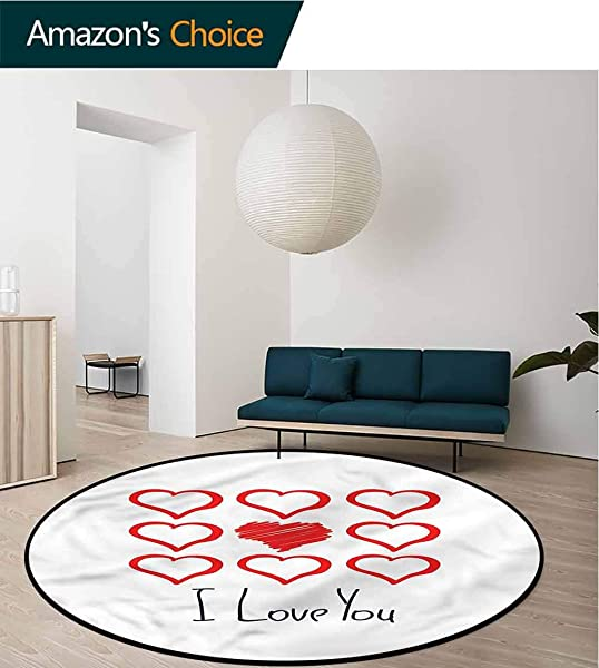 RUGSMAT Romantic Modern Washable Round Bath Mat Scribble Red Hearts Protect Floors While Securing Rug Making Vacuuming Round 31