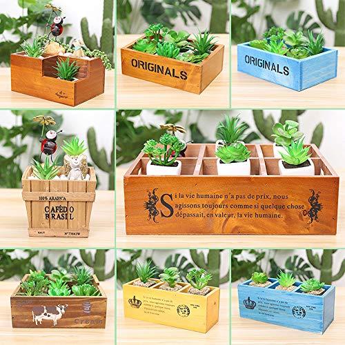 XHZJ Bureau En Bois Plante Succulente Pot Creative Boîte De Rangement En Bois Multi-spec En Bois Succulente Plante Pots Bonsai Plateau Creative Boîte En Bois Rectangulaire Intérieur Plante Verte De St