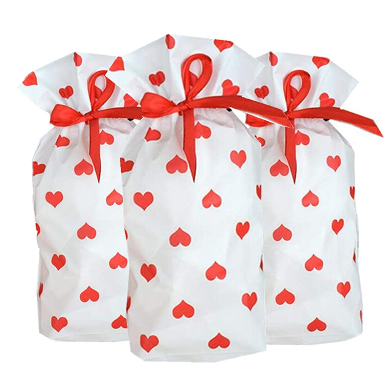 50pcs Red Heart Cookie Bag Plastic Drawstring Bags,Party Favor Bags,Gift, Wedding,Package Bag