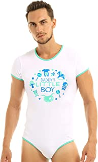 Alvivi Men Round Neck Short Sleeves Daddy's Little Boy Printed Press Button Crotch Romper Bodysuit Pajamas