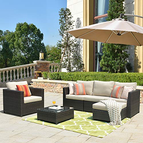 ovios Patio Furniture Set, Big Size Outdoor Furniture 6 Pcs Sets,PE Rattan Wicker sectional with 2 Pillows and Furniture Cover, No Assembly Required (Beige Sunbrella)