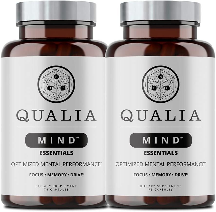 Qualia Mind Essentials Nootropics Indianapolis Mall 75ct 2021 autumn and winter new - 2 Supp The Brain Pack