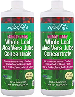 Aloe Life - Whole Leaf Aloe Vera Juice Concentrate, Certified Activator, Organic, Supports Healthy Digestion, Immune Syste...