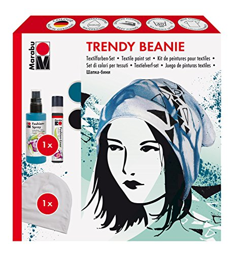 Marabu 1719000000091 - Fashion Spray Kreativset, Trendy Beanie, Textilsprühfarbe auf Wasserbasis, für helle Textilien, 100 ml Spray in petrol, 25 ml Fashion Liner in schwarz und ein Beanie