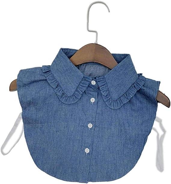 Collar Falso Desmontable Dril De Algodón De Cuello De La Blusa La Mitad De Collar De Las Camisas Falso por Muchachas De Las Mujeres