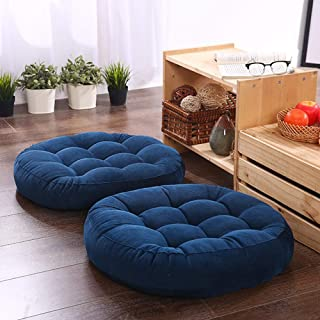 Solid Papasan Patio Seat Cushion Outdoor Chair Pad Home Tatami Floor Cushion Indoor Window Pad 22 Inch Set of 2 Throw Pillows Round Blue