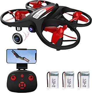 Mini Drone para niños 2.4G WiFi FPV Drone con cámara 720P WiFi Transmisión en Tiempo Real Sensor de Gravedad Altitud Hold Modo sin Cabeza Control de la aplicación (con 3 baterías)