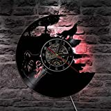 wtnhz LED Reloj de Pared de Vinilo Colorido Wolf Disco de Vinilo Reloj de Pared diseño Moderno Reloj LED retroiluminación Creativo Antiguo clásico CD Reloj de Pared decoración del hogar Mudo 12 PU