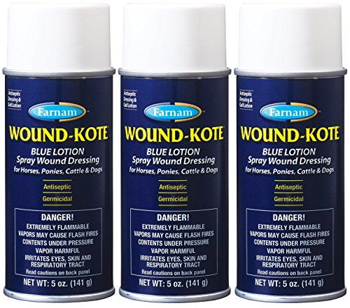 Farnam 3 Pack of Wound-Kote, 5 Ounces each, Blue Lotion Spray Wound Dressing for Horses Ponies Cattle and Dogs